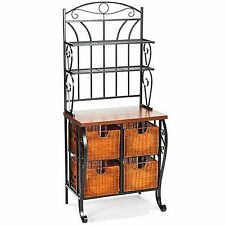 Iron & Wicker Basket Bakers Rack Storage Furniture Kitchen Hall Microwave Stand