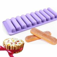 10 Rectangle Bakeware Cookie Candy Pastry Chocolate Finger Bar Silicone Mold