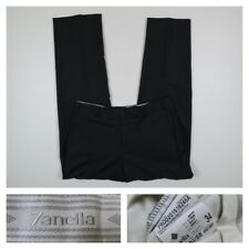 Zanella Devon Mens 34 Dress Pants Solid Gray Flat Front Wool Italy 34x32
