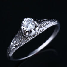 Vintage Solid 14K White Gold Cubic Zirconia Wedding Engagement Anniversary Ring