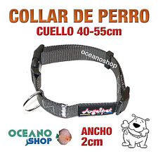 COLLAR PERRO NYLON GRIS AJUSTABLE DE CALIDAD CUELLO 40-55cm L109 3385