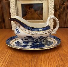 Royal Doulton Booths Real Old Willow Gravy Boat with Matching Under Plate