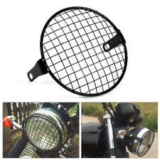 "6.5""Metal Retro Motorcycle Headlight Lamp Square Mesh Grille Cove Mask For Honda"