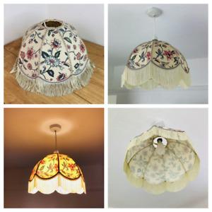 Vintage Light Shade Fabric Ditsy 80's Cottage Core Retro Tassels
