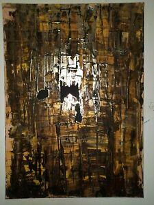 Tableau Abstrait 70x50 cm Ecorce dorure Coté Akoun
