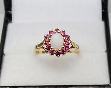 10ct Yellow Gold Opal & Red Ruby Cluster Claw Set Ring Size K 1/2