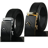 Luxury Men's Genuine Black Leather Automatic Belts Buckle Waist Strap Waistband