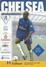 Football Programme - Chelsea v Fulham - Premiership - 6/3/2002