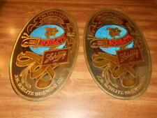 """LOT OF 2 OVAL SCHLITZ ON DRAUGHT BEER 1849 BEER MIRROR SIGNS 20"""" X 12"""""""