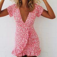 New Women V Neck Floral Ruffled Short Sleeve Irregular Mini Dress Party Sundress
