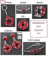 Poppy remembrance gifts bracelet bangle earrings keyring pin brooch