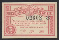 J.B.  BILLETE FONTS DE SACALM  , 5 CÉNTIMOS , SC- , Spanish Civil War Banknote
