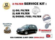 Para Kia Carens 2.0 Dt Crdi d4ea 2006-2012 Aceite Aire filtros de combustible (3) Kit De Servicio