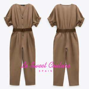 ZARA WOMAN NWT SS21 MID-MINK BELTED LINEN BLEND JUMPSUIT ALL SIZES 7992/501