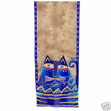Laurel Burch 100% Silk Oblong Scarf Fantastic Blue Metallic Gold Azul Cats New
