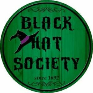 "BLACK HAT SOCIETY 12"" ROUND LIGHTWEIGHT METAL WALL SIGN DECOR"