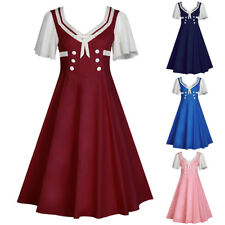 Womens 50s Vintage Style Lady Retro Evening Housewife Party Dress Swing Dresses