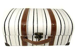 Punch Studio Decorative Vintage Case Chest Box Ivory Black Stripe 26671 med