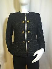 MOSCHINO - GOLD AND BLACK WOOL TWEED JACKET SZ- 8 ORG$ 1,675 now 625.00
