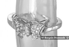 diamond .07-carat butterfly 10K white gold ring love promise nature earth mom