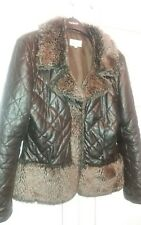 Lime Size 10 Brown Quilted jacket With Fur Trim