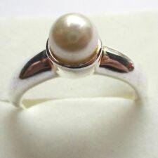bague réglable bijou vintage couleur argent perle blanche solitaire