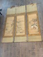 Antique Japanese 17th Century Kiyohara Yukinobu Signed Set of 3 Scroll Paintings