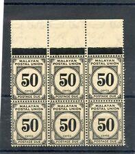MALAYA Sc  J12 (SG D6)**VF NH BLOCK OF SIX $675