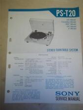 Sony Service Manual~PS-T20 Turntable~Original~Repair