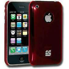 RED ULTRA SLIM HARD SHELL CLIP ON CASE COVER FOR iPHONE 3 3G 3G S