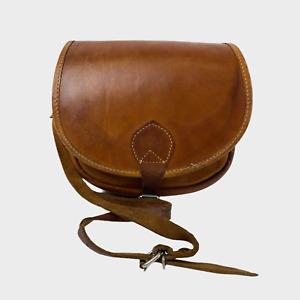 QUALITY Ladies Womens Bag Brown Leather Crossbody Shoulder Saddle Handbag