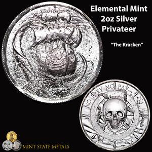 """Elemental Mint Privateer 2oz Silver - """"The Kraken"""" Pirate Skull Coin"""