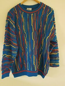 Purely Australian Coogi Era Chunky Pure Wool Knit Jumper Sweater Size L As New