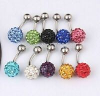 12mm Shamballa Crystal Belly Bar Ball SINGLE CRYSTAL Gem Body Piercing Jewellery