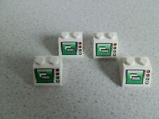 Lego 3039pb042 # 4x Schrägstein 2x2 bedruckt Weiß Weiss 7744 7237