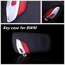 Genuine Leather BMW Key Case Bag Sport Line Fits BMW 2 3 5Series X3 (Black/Red)