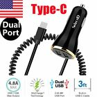 Dual USB Car Fast Charger Type-C Power Cable for Samsung S21 S20 Plus Note 9 10
