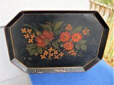 Vintage Antique Octagonal Tole Tray w/ Flowers-12 5/8""