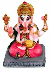 Lord GANESH Ganesha STATUE Figurine Hindu God INDIA Puja LOTUS Blessing Elephant