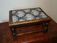 Antique Solid Oak Rectangular Art Nouveau Pattern Upholstered Footstool (Turned)