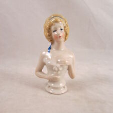 "Antique Pincushion Half Doll Arm Away Porcelain Germany 3"" Blonde Hair Blue Bow"