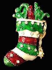 Esmalte Cristal Christmas Stocking Broche Regalo Pin Navidad Rhinestone