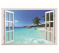 US STOCK Wall Sticker 3D Window Hawaii Beach Living Room Bedroom Decal Lobby