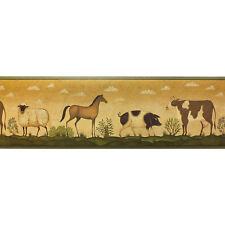 American Folk Art Style Design Wallpaper Border - 250b69202 (17.3cm x 4.57m)