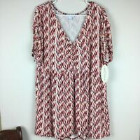 NWT BOUTIQUE V-NECK TOP BLOUSE WOMENS 1X SHORT DRAWSTRING SLEEVE STRETCH SHIRRED