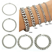 Men's Chain 3/5/7/9/11mm Stainless Steel Bracelet Curb Cuban Link Necklace Gift