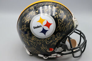 PITTSBURGH STEELERS TEAM SUPER BOWL XL SIGNED AUTO FULL SIZE HELMET MOUNTED COA