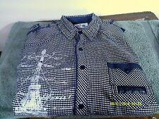 GUIDE LONDON Men's sz L Blue/White Short Sleeve Shirt-Button Front-Cotton