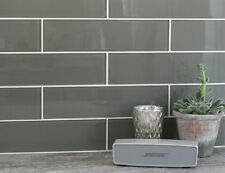 Large / XL Dark Grey GLASS Metro Brick Kitchen / Bathroom Wall Tiles 7.5 x 30cm