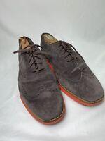 COLE HAAN Mens Sz 9.5 M US Lunarlon Brown Suede Long Wingtips Brogue Shoes